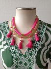 HOT PINK MULTI TASSEL BOHO LAYERED STATEMENT NECKLACE GOLD CRYSTAL + Earrings!!