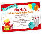 Personalised Kids Bowling Birthday Party Invitations/Invites with envelopes