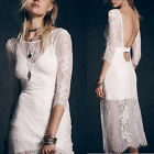 Sexy 3/4 Sleeve V Backless Perspective Lace Crochet White Double Dress New Style