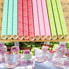 25Pcs Vintage Striped Biodegradable Paper Drinking Straws Birthday Wedding Party