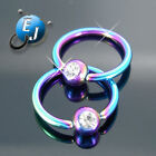 "New 1/2"" 14G Pair Titanium ANODIZED JEWELRY Clear CZ 12MM CBR Nipple Rings"