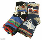 6 Pairs Of Kids Boys Football Design Socks, Goal Blue Grey Socks, Various Sizes