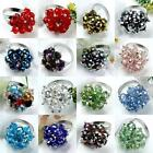 1PC Faceted Crystal Glass Beads Flower Party Cocktail Finger Ring Adjustable