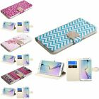 For Samsung Galaxy S6 Edge Pattern Bling Belt Leather Wallet Stand Case Cover