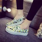 Korean Plimsoll Platform Womens Round Toe Floral Canvas Loafers Athletic Shoes