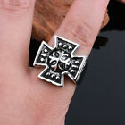 Vintage Biker Stainless Steel Men's Cool Cross Ring For Jewelry Gift SZ 8-12