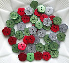 10 x Glitter Buttons/ Flower Shape /Christmas Plastic15mm - Red Green or Silver