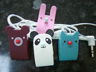 Cute Roll Up Leather Animal Earphone Winder Cable Tidy Rabbit, Bear, Panda, Cat