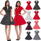 BLACK RED+ 50'S STYLE ROCKABILLY PINUP SWING WRAP EVENING PARTY DRESS SIZE XS-XL