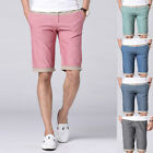 Summer Mens Cotton Shorts Bottoms Knee Length Straight Pants Casual Summer New 1