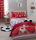 """Kids Football Red Fully Lined Curtains, Pencil Pleat Bedroom Curtains 66"""" x 72"""""""
