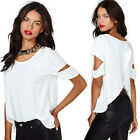 Fashion Womens Short Sleeve Hole Chiffon Sexy Back Cross Blouse Loose Tops Shirt