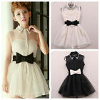 Sexy Women Ladies Cocktail Lace Sleeveless Bow Mini Short Clubwear Sundress Dres