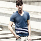 Mens Special 2-in-1 Stylish Varsity 100% Cotton Stripe Shirt Tee Vest T-Shirts