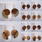 26-34mm Ammonite fossil dangle earrings 1-1.3""
