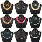 Womens Jewelry Leather Rope Chain Gold Crystal Pendant Necklace Earrings Sets