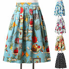 Vintage Floral Print Pleated Midi Skirt High Waist Swing Ball Gown Summer Skirt