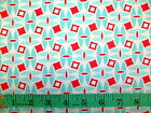 DAYSAIL - RED AND BLUE GEOMETRIC PATTERN ON WHITE 100% cotton patchwork fabric