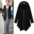 Korean Women's Black/Dark Grey Thin irregular Hem Hooded Coat Jacket Outerwear