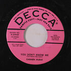 CARMEN MCRAE: You Don't Know Me / Never Loved Him Anyhow 45 (dj, date stamp ol)