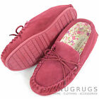 LADIES GENUINE WOOL MOCCASIN SLIPPER HARD SOLE SOLE FABRIC LINED CRIMSON