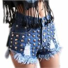 Sexy High Waist Punk Stud Rivet Ripped Fray Casual Denim Shorts Jeans Hot Pants