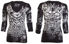 Xtreme Couture AFFLICTION Womens LS T-Shirt OFFERING Biker Sinful $58 a