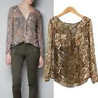 Leisure Womens Chiffon Blouse Snake Pattern V Neck Long Sleeve Shirts Tops US JB