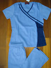 #3026 Women Stylish Nursing Uniforms Medical Scrubs Set Double Trim Ciel / Navy