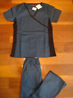 #4018 New Wrap Knit Nursing Scrub set  Nurse Medical Uniform Set Caribbean Blue
