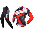 Mens Bike Cycling Long Sleeve Jersey Pants Kits Shirt Brace Tights Set Gears