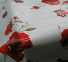 SILVER GREY RED POPPY FLORAL PRINT PVC PLASTIC VINYL OIL TABLE CLOTH PROTECTOR