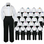3pc Shirt Black Pants Bow Tie Set Baby Toddler Kid Boys Formal Suit Separate S-7