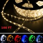 100' 2 Wire LED Rope Light Home In/Outdoor Christmas Decorative Party Light 110V