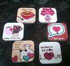 10/20/50 Mixed Wooden Square Love Hearts Message Buttons 20mm 2 holes