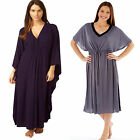 Ladies Womens Kaftan Knitted Maxi Dress Long Length Loungewear Poncho Nightie