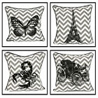 100% Cotton Cushion Cover Decorative Trendy Chevron Zip Pillow Case 18x18""