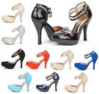red pumps ankle strap - DREAM PAIRS OFFICE-02 Women's Double Ankle Strap Almond Toe High Heel Pumps New