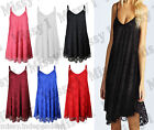 Womens Strappy Cami Skater Lace Swing Long Top Ladies Flared Dress Plus Size