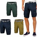NEW MENS BELTED CHINO CARGO COTTON SHORTS COMBAT PANTS WORK KNEE LENGTH BONDS