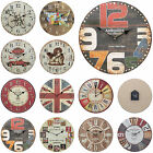 Shabby Chic Large 34cm Thin Rustic Wall Clock Urban Design