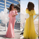 Sexy Summer Women Half Sleeve Shoulder Off Slash Neck Chiffon Long Beach Dress