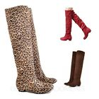 Womens Booties Vintage Winter Shoes Leopard Knee Length Boots Size 8 6 4 3 2