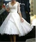 sexy lace bridal gown v-neck 3/4 sleeves tea length wedding dresses custom made