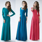 Women Cotton Grace Backless Long Sleeve Cocktail Evening Party Long Maxi Dress