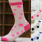 Women Girls Korean Star Soft Transparent Glass Crystal Silk Socks Stockings Sock