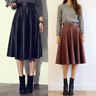 Women Autumn Winter Vintage Pu Leather High Waist Slim Fit Pleated Midi Skirts