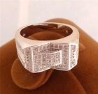 Exquisite design 18K White Gold Filled cubic zirconia unsex's ring size 9 10 11
