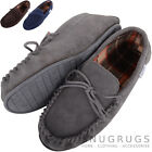 Mens Cotton Lined Tartan Style Suede Moccasin / Slippers with Rubber Sole