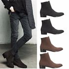 Men's Fashion Casual Zip Formal Heel Pointed Toe Suede Shoes Ankle Boot Loafers